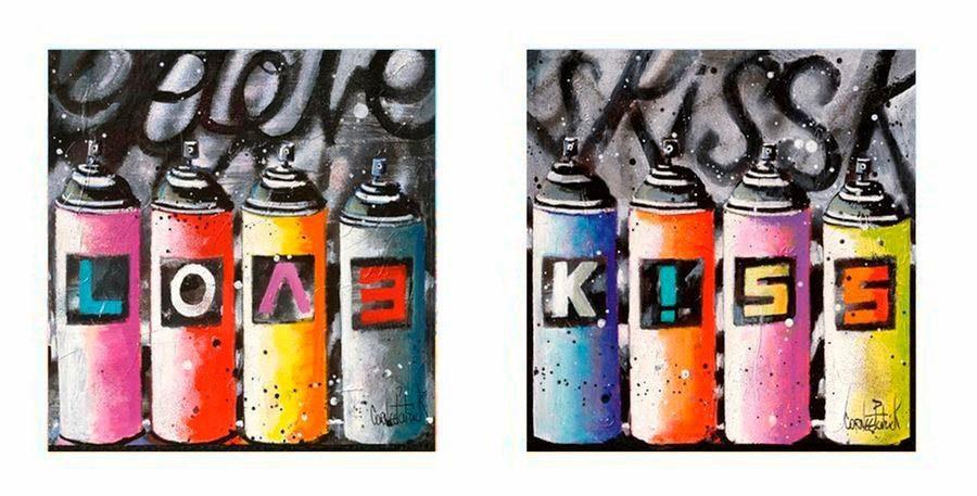 Premium Picture Deco-Panel »Spraydosen: Love and Kiss«, 2x 30/30 cm