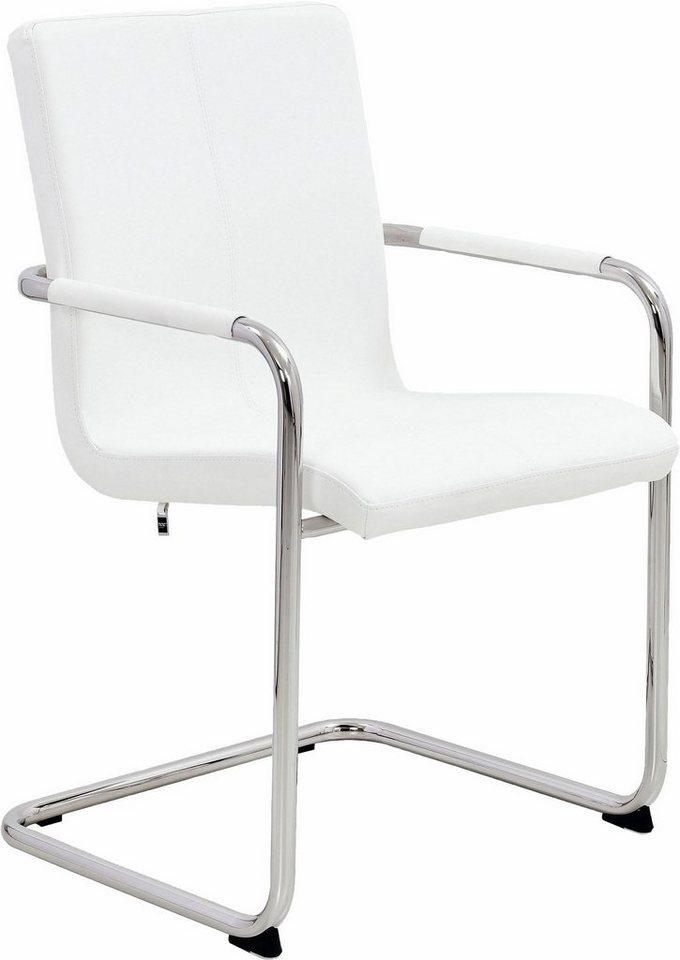 now! by hülsta Freischwinger, 2er-Set »S 17« Chromgestell mit Kunstlederbezug in weiß