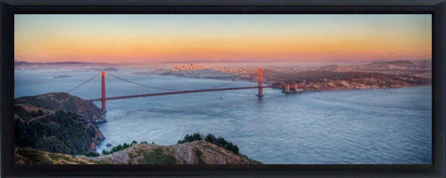 Premium Picture Schattenfugenbild »Golden Gate Bridge San Francisco«, 95/33 cm in blau/orange