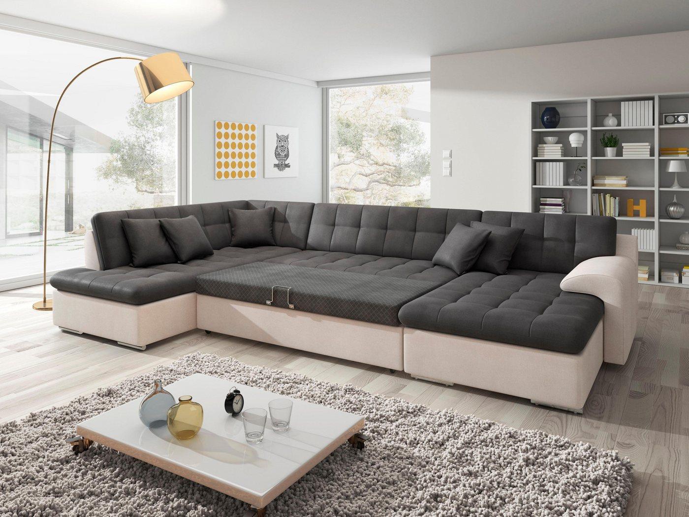TRENDMANUFAKTUR Wohnlandschaft, wahlweise mit Bettfunktion   Wohnzimmer > Sofas & Couches > Wohnlandschaften   Grau   Holzwerkstoff   TRENDMANUFAKTUR