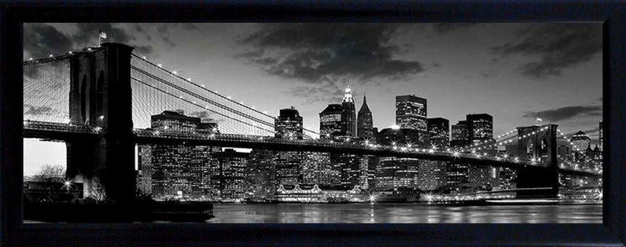 Premium Picture Schattenfugenbild »Brooklyn Bridge/New York«, 90/60 cm in schwarz/weiß