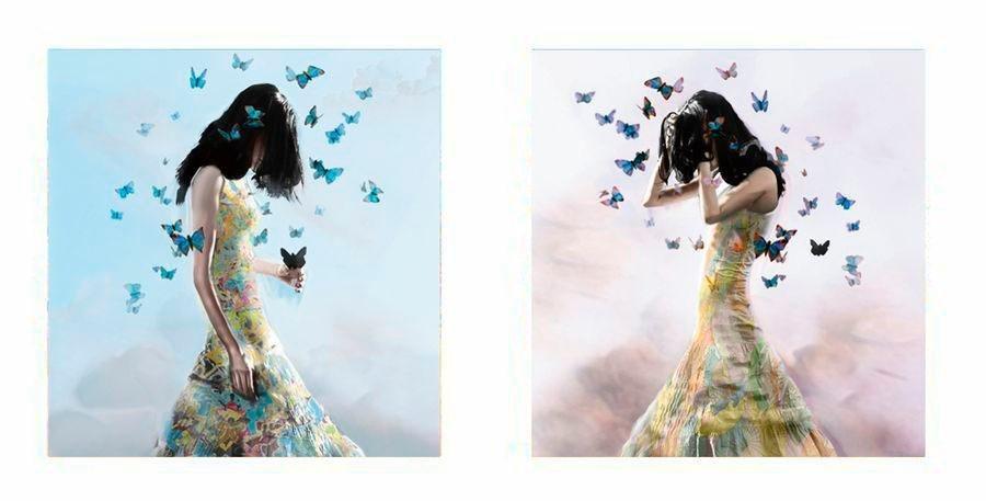 Premium Picture Deco-Panel »Schmetterlingsfrau«, 2x 30/30 cm in bunt