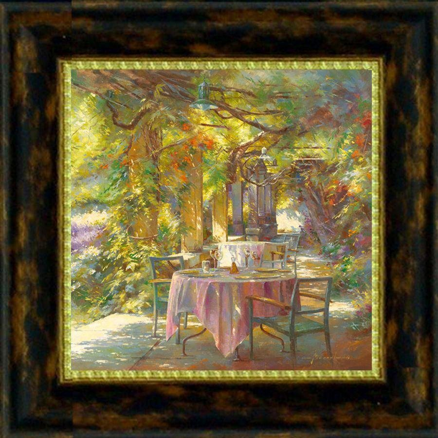 Premium Picture Wandbild »Gedeckter Tisch im Grünen«, 30/30 cm in bunt