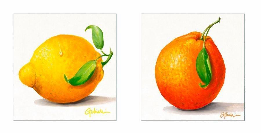 Premium Picture Deco-Panel »Obst: Zitrone/Orange«, 2x 30/30 cm in gelb/orange