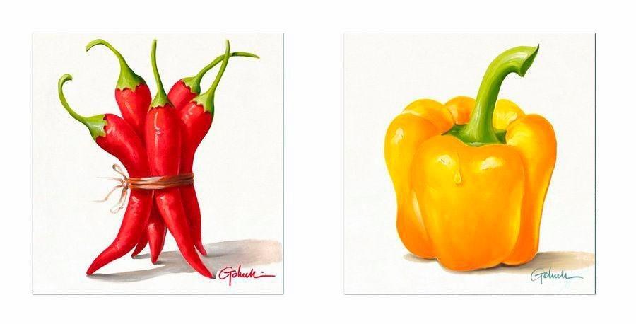 Premium Picture Deco-Panel »Gemüse: Chili/Paprika«, 2x 30/30 cm in rot/gelb