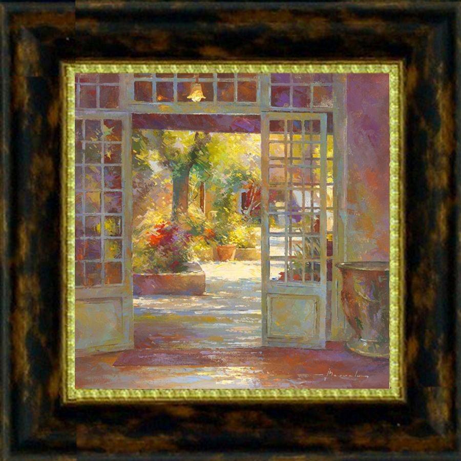 Premium Picture Wandbild »Blick auf die Veranda«, 30/30 cm in bunt