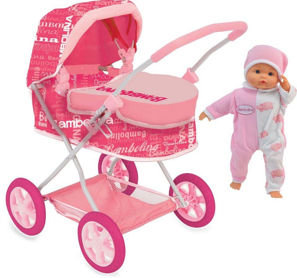 Dimian Puppenwagen Set, »Bambolina Puppenwagen mit 36 cm großer Weichpuppe« in pink/weiß