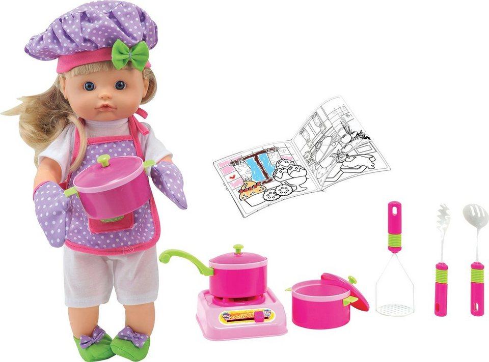 Dimian Puppe mit Funktion, »Nena Chef mit Kochaccessoires« in bunt