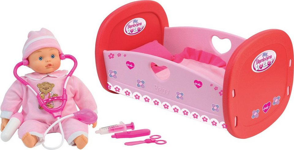 Dimian Puppenbett inkl. Puppe und Arztzubehör, »Bambolina Bebe Doctor Set« in rosa