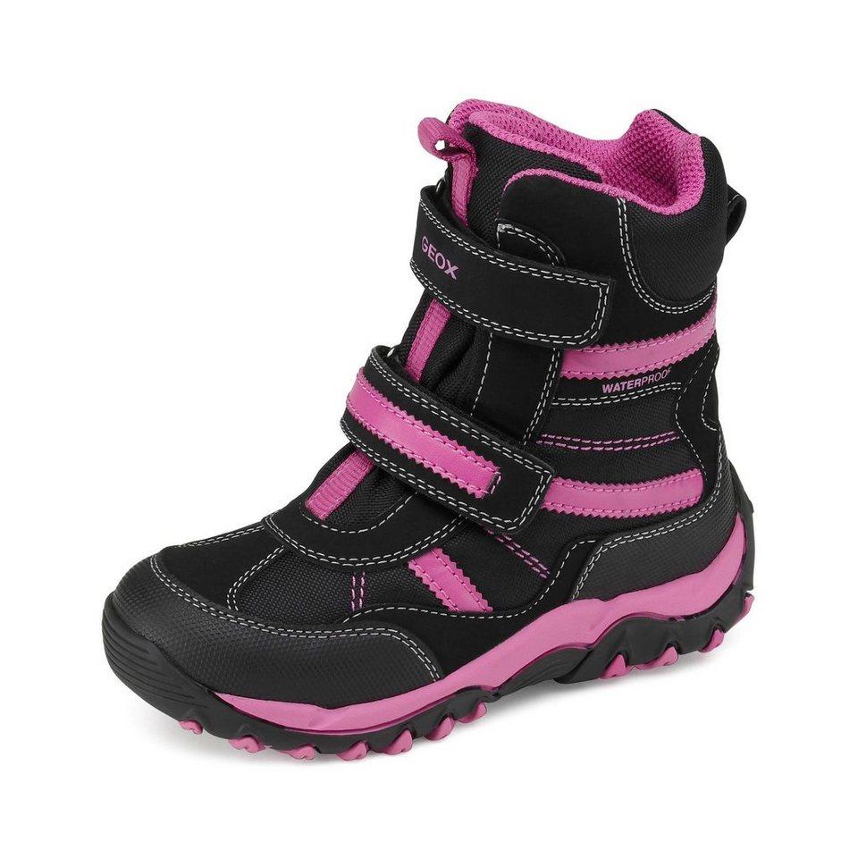 Geox Alaska Girl wasserdichter Winterstiefel in schwarz/pink