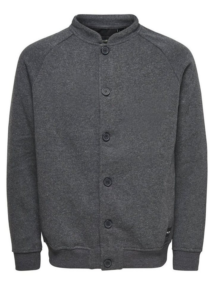 ONLY & SONS Sweat- Jacke in Dark Grey Melange