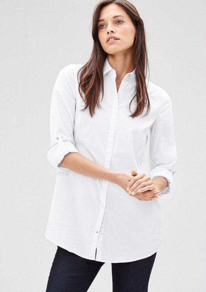 s.Oliver BLACK LABEL Lange Stretch-Bluse in white