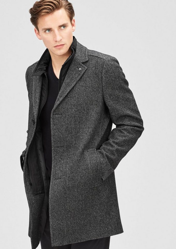s.Oliver BLACK LABEL Modern Fit: Mantel aus Woll-Mix in grey/black