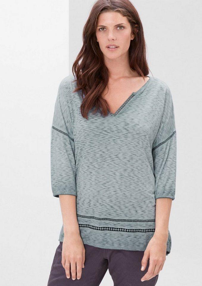 TRIANGLE Flammgarn-Shirt mit Dye-Effekt in frosty blue