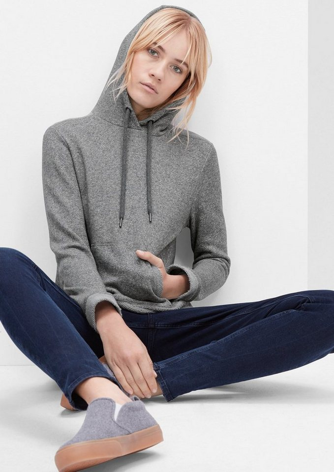s.Oliver RED LABEL Cropped Hoodie mit Melange-Effekt in pewter grey melange