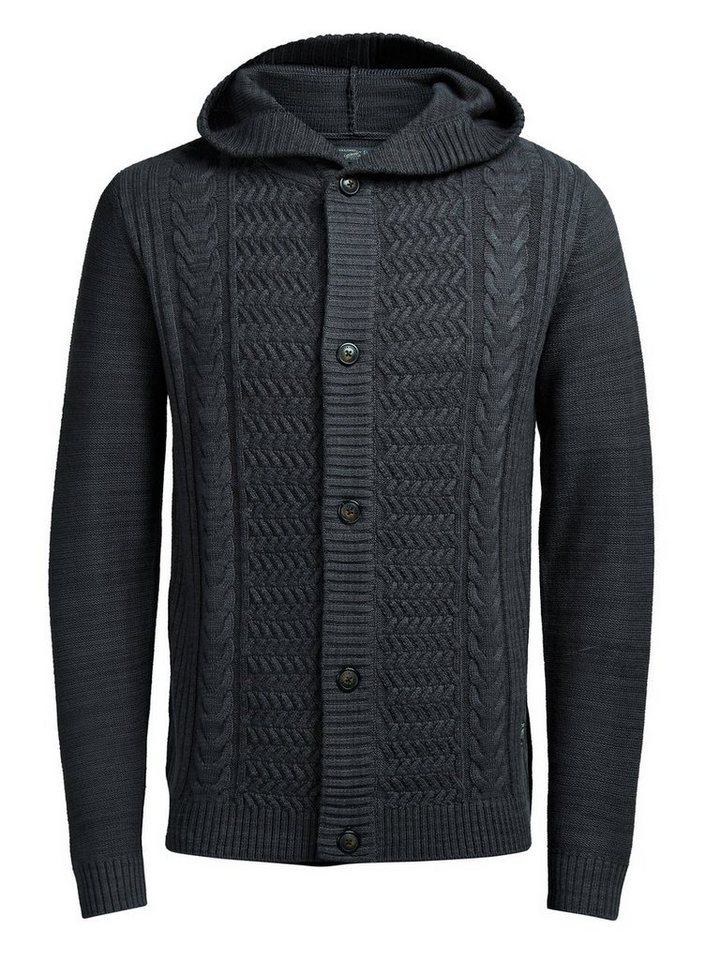 Jack & Jones Dicke Strickjacke in Asphalt