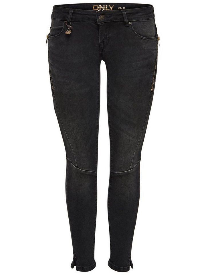 Only Coral sl zip ankle Skinny Fit Jeans in Black