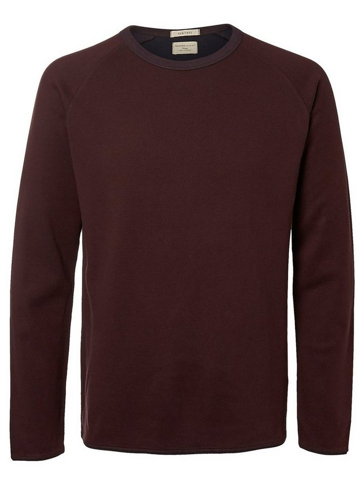 Selected Crew Neck- T-Shirt mit langen Ärmeln in Fudge