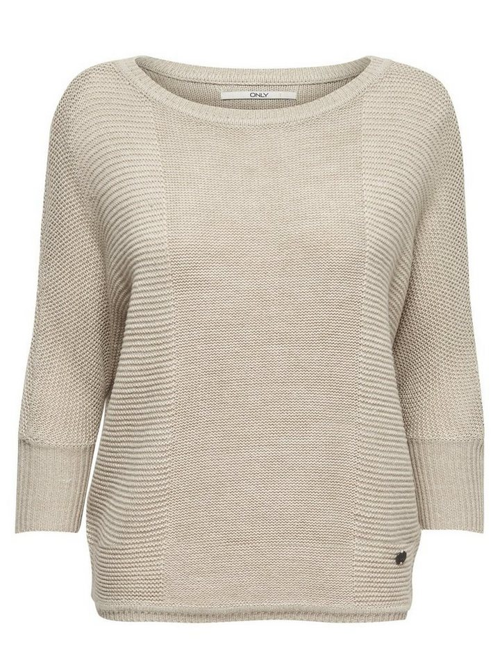 Only Lässiger Strickpullover in Oatmeal