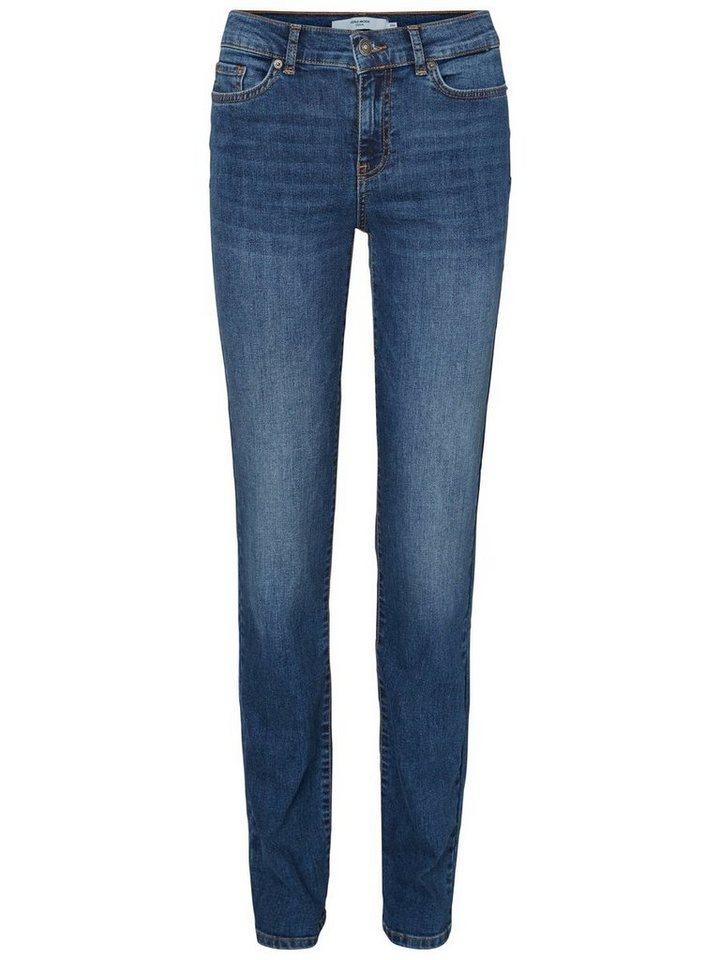 Vero Moda Fifteen NW Straight Fit Jeans in Medium Blue Denim