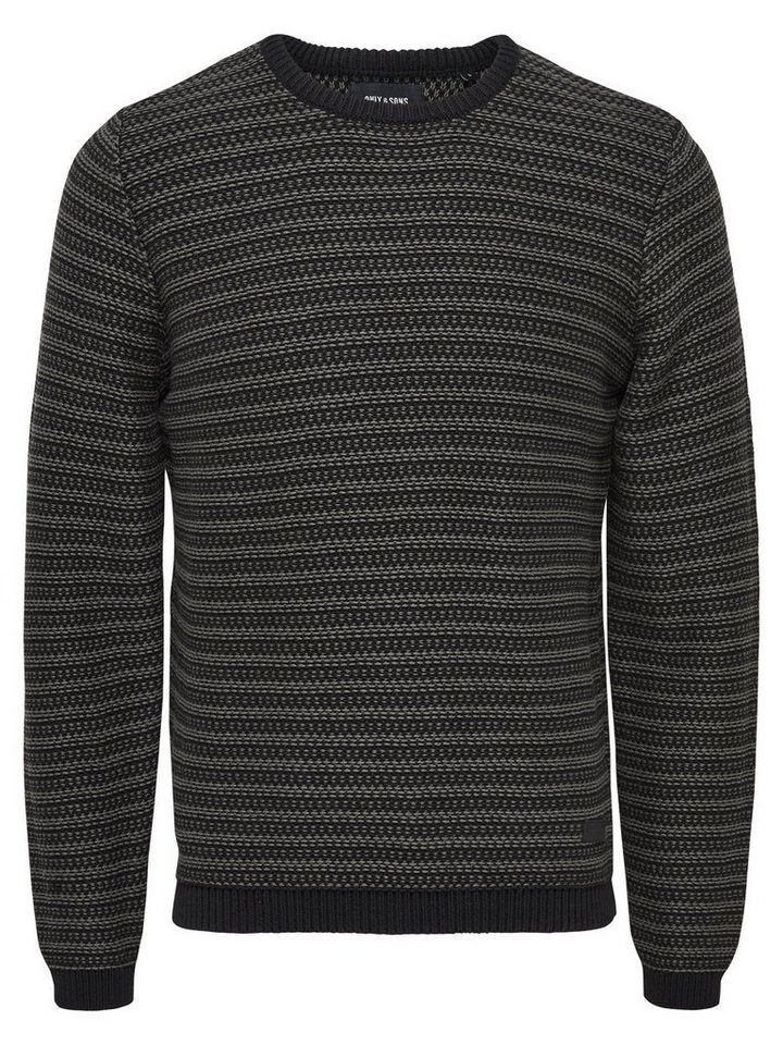ONLY & SONS Kontrastreicher Strickpullover in Raven
