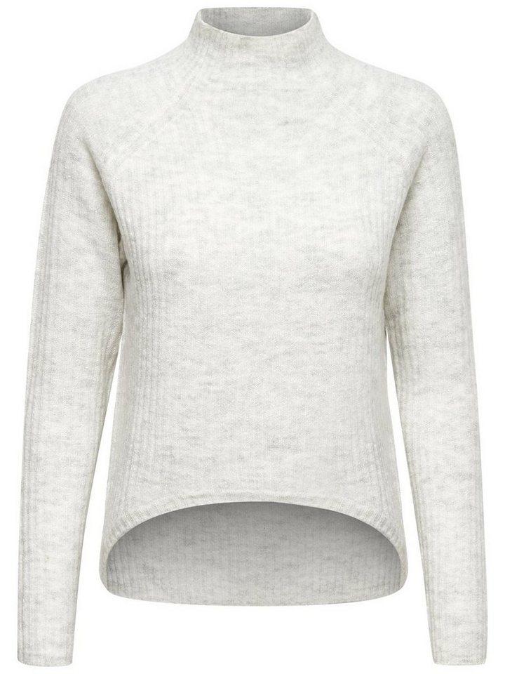 Only Stehkragen- Strickpullover in Whitecap Gray
