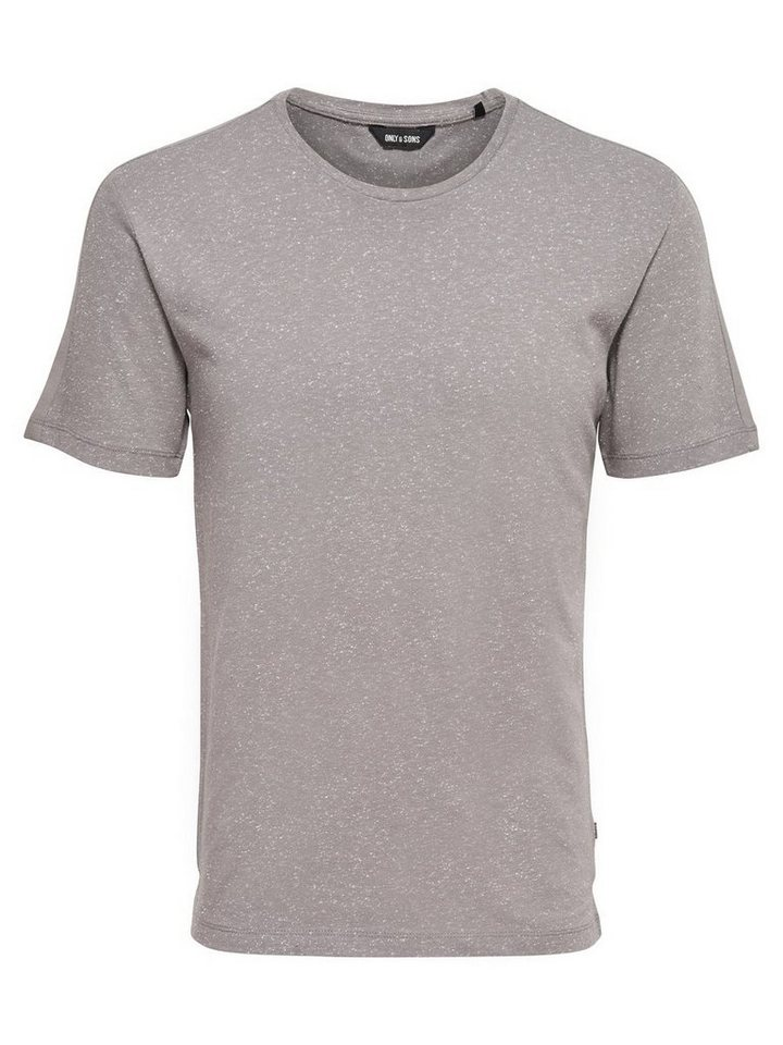 ONLY & SONS Strukturiertes T-Shirt in Medium Grey Melange