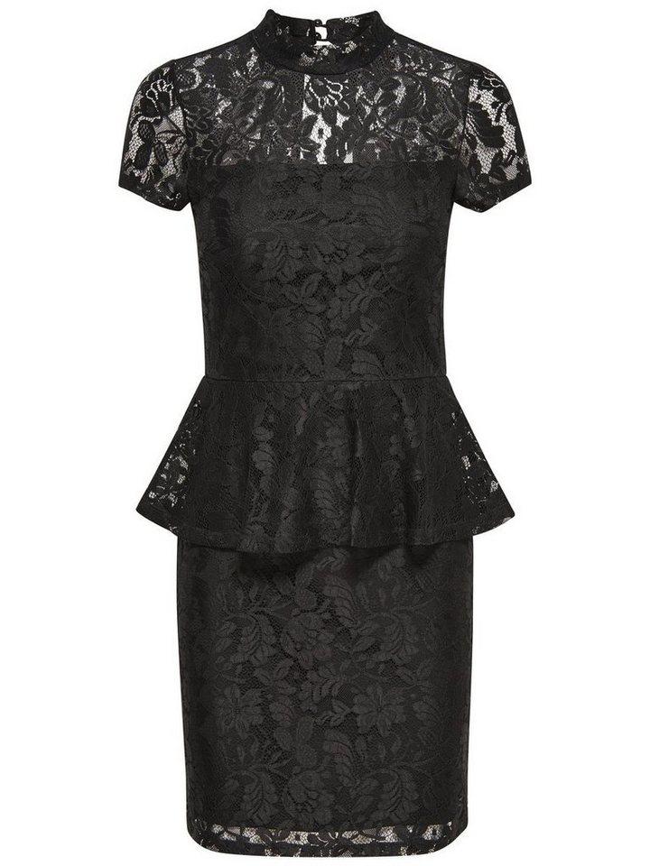 Only Peplum- Kleid mit kurzen Ärmeln in Black