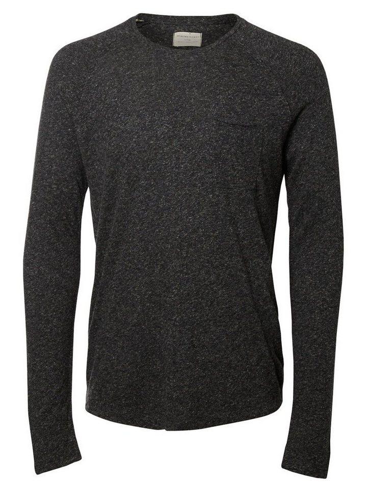 Selected Rundausschnitt T-Shirt mit langen Ärmeln in Antracit