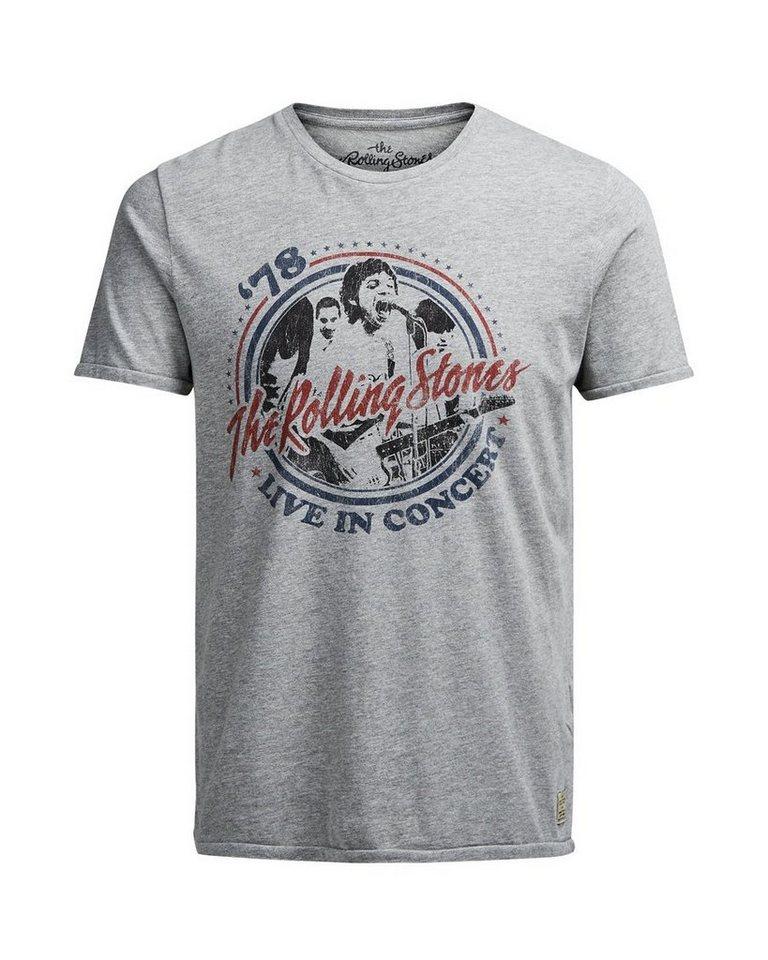 Jack & Jones Rolling Stones T-Shirt in Light Grey Melange
