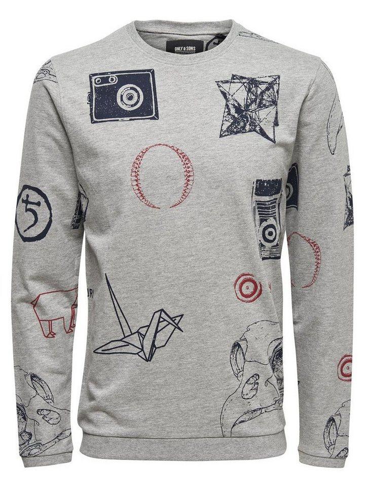 ONLY & SONS Bedrucktes Sweatshirt in Light Grey Melange
