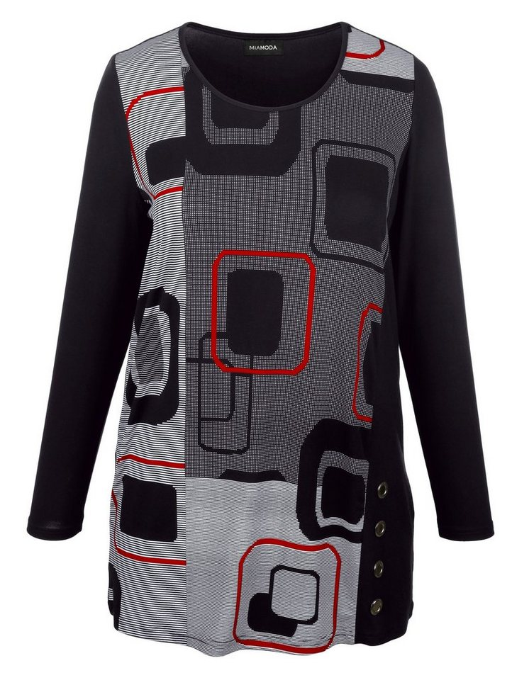 MIAMODA Longshirt in schwarz/grau/rot