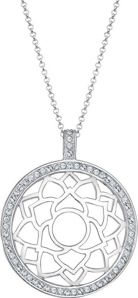 Elli Premium Kette mit Anhänger »Chakra, Elli PREMIUM, 0112370815« mit Swarovski® Kristallen in Silber 925-silberfarben