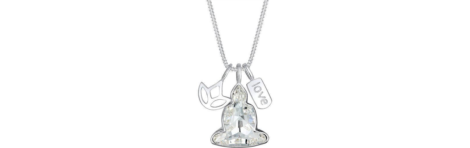 Elli Kette mit Anhänger »Buddha Lotus Love, Elli , 0102422916« mit Swarovski® Kristallen
