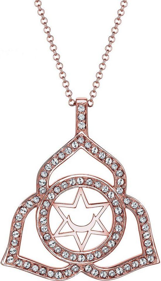 Elli Premium Kette mit Anhänger »Chakra, Elli PREMIUM, 0101662616« mit Swarovski® Kristallen in Silber 925-roségoldfarben