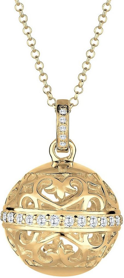 Elli Premium Kette mit Anhänger »Ornament, Elli PREMIUM, 0103581715« mit Zirkonia in Silber 925-goldfarben