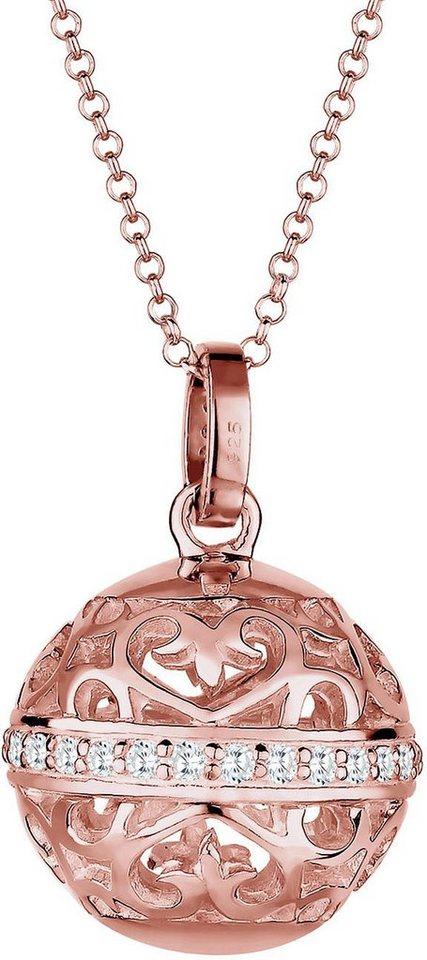 Elli Premium Kette mit Anhänger »Ornament, Elli PREMIUM, 0103711715« mit Zirkonia in Silber 925-roségoldfarben