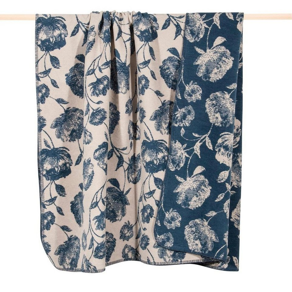 Wohndecke, pad, »Agnes«, im Blüten-Design in blau