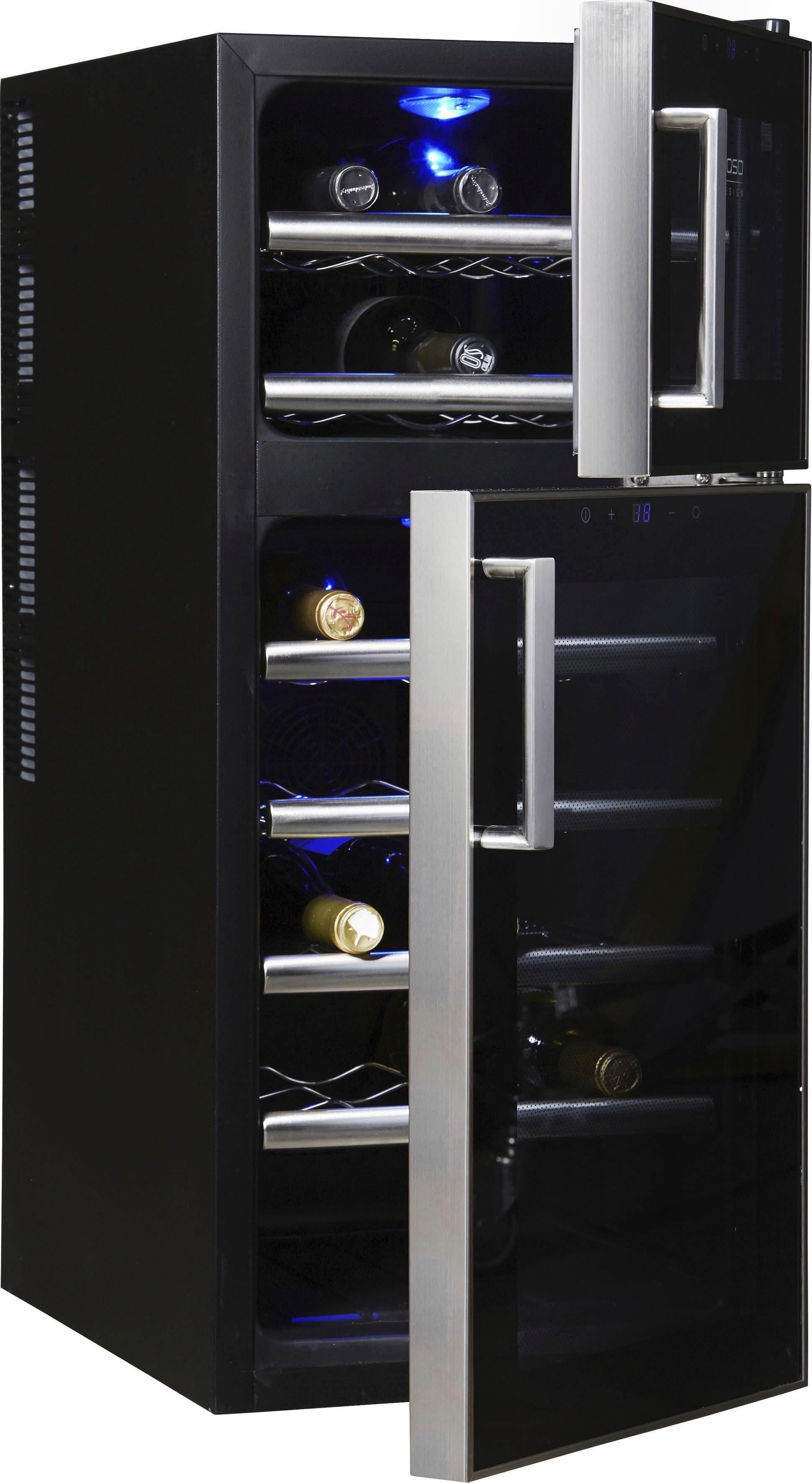 CASO Design Weinkühlschrank »WineDuett Touch 21«, Höhe 80,5 cm, für 21 Standardflaschen 0,75l