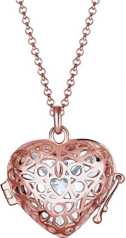 Elli Kette mit Anhänger »Herz, Elli, 0103891816« mit Swarovski® Kristall in Silber 925-roségoldfarben