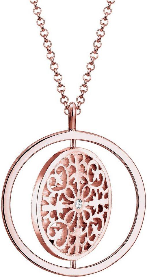 Elli Premium Kette mit Anhänger »Ornament, Elli PREMIUM, 0103141816« mit Swarovski® Kristall in Silber 925-roségoldfarben-weiß