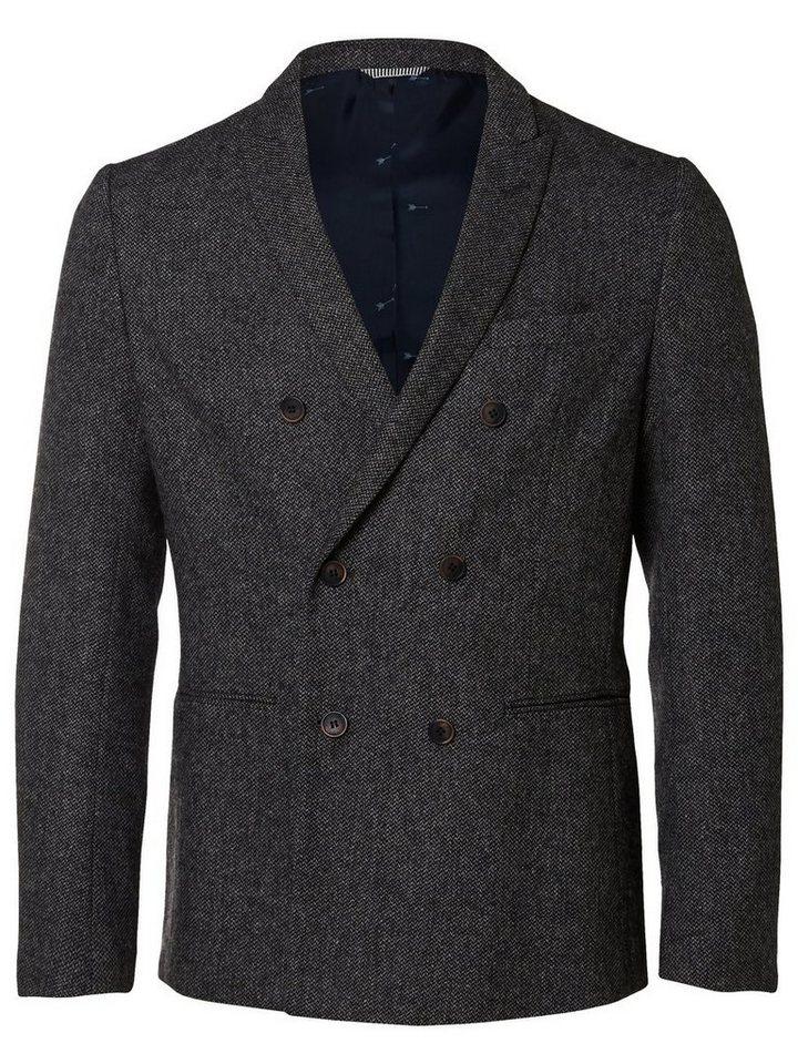 Selected Gestrickter Blazer in Grey Melange