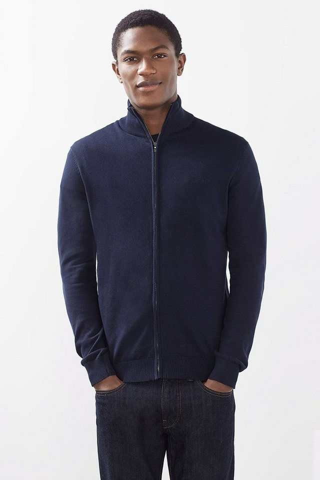 ESPRIT CASUAL Basic Zipp-Cardigan, 100% Baumwolle in NAVY