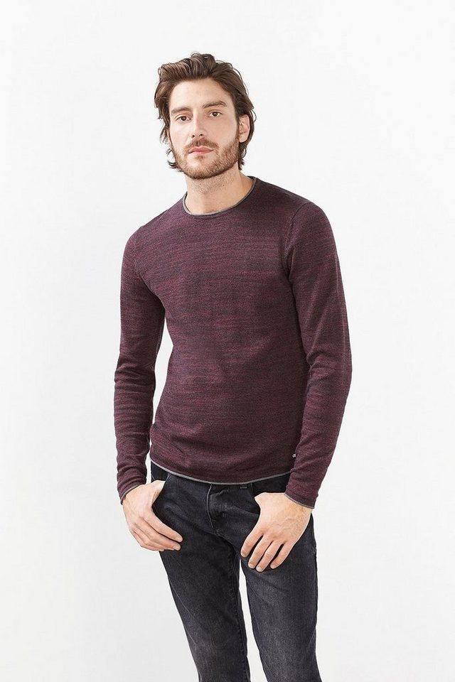 EDC Slub-Garn-Pulli aus Baumwoll-Mix in BORDEAUX RED