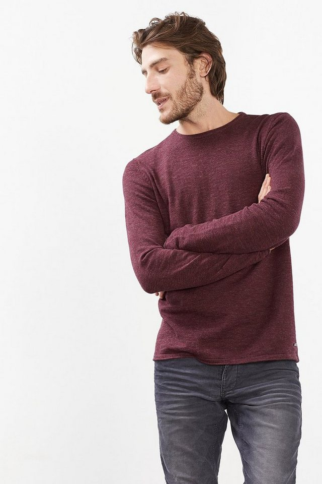 EDC Basic Pulli aus 100% Baumwolle in BORDEAUX RED