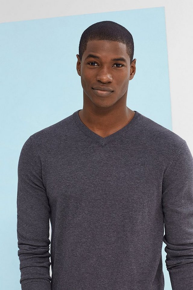 ESPRIT CASUAL Basic V-Neck-Pulli, 100% Baumwolle in DARK GREY