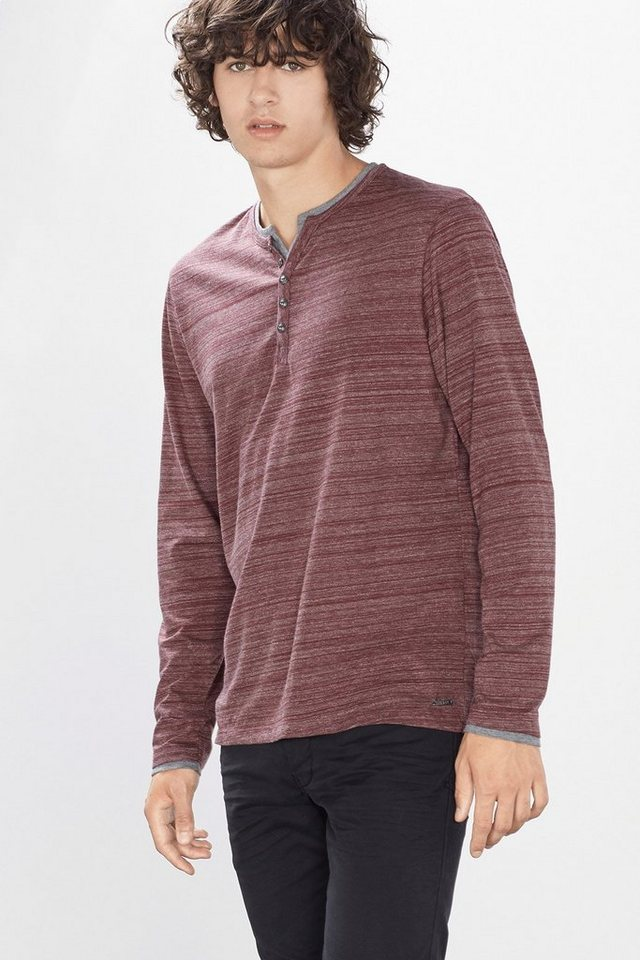 EDC Jersey Henley im Layer-Stil in BORDEAUX RED