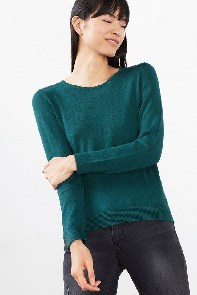 EDC Weicher Feinstrick-Basic-Pulli in BOTTLE GREEN