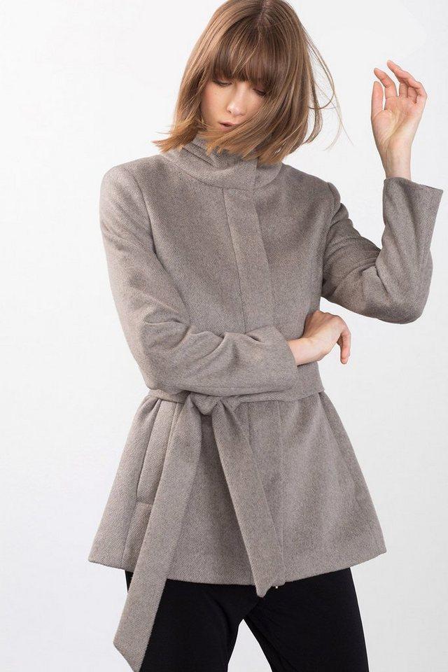 ESPRIT COLLECTION Jacke mit Stehkragen aus Wollmix in TAUPE