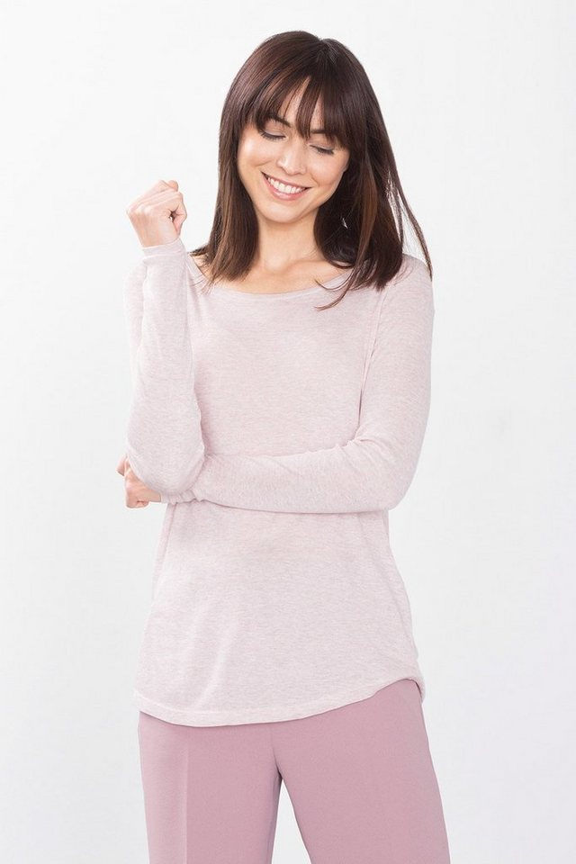 ESPRIT CASUAL Seidig fallendes Longsleeve in LIGHT PINK